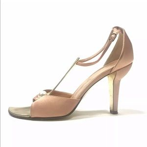 Chanel T Strap Pearl D'Orsay Orange Gold Heels
